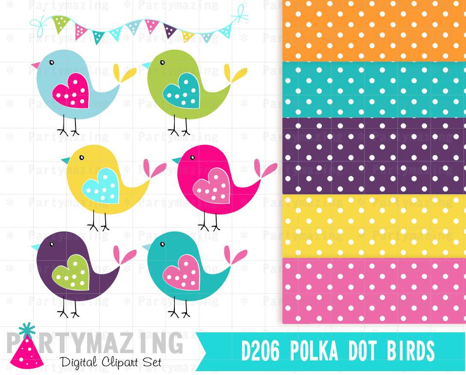 D206 Polka dot Bird Clip Art , Fun Colors Birds Clip Art Set and.