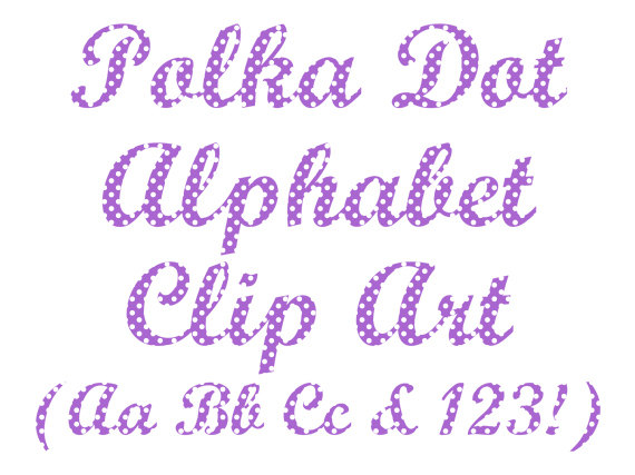 Lavender Alphabet Clipart Polka Dot Letters and Numbers Clip.