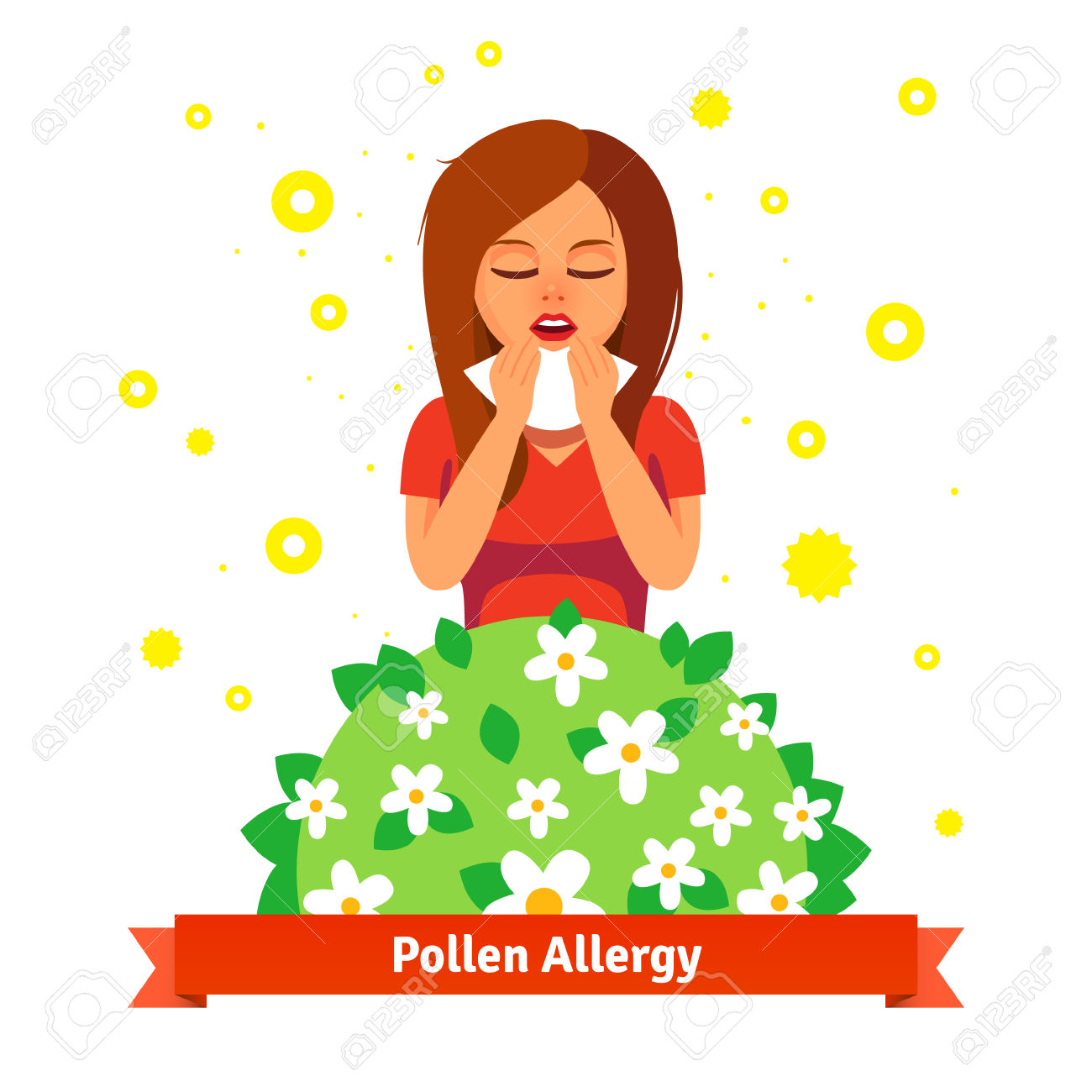 Girl Suffering From Spring Pollen Allergy. Sneezing Into.