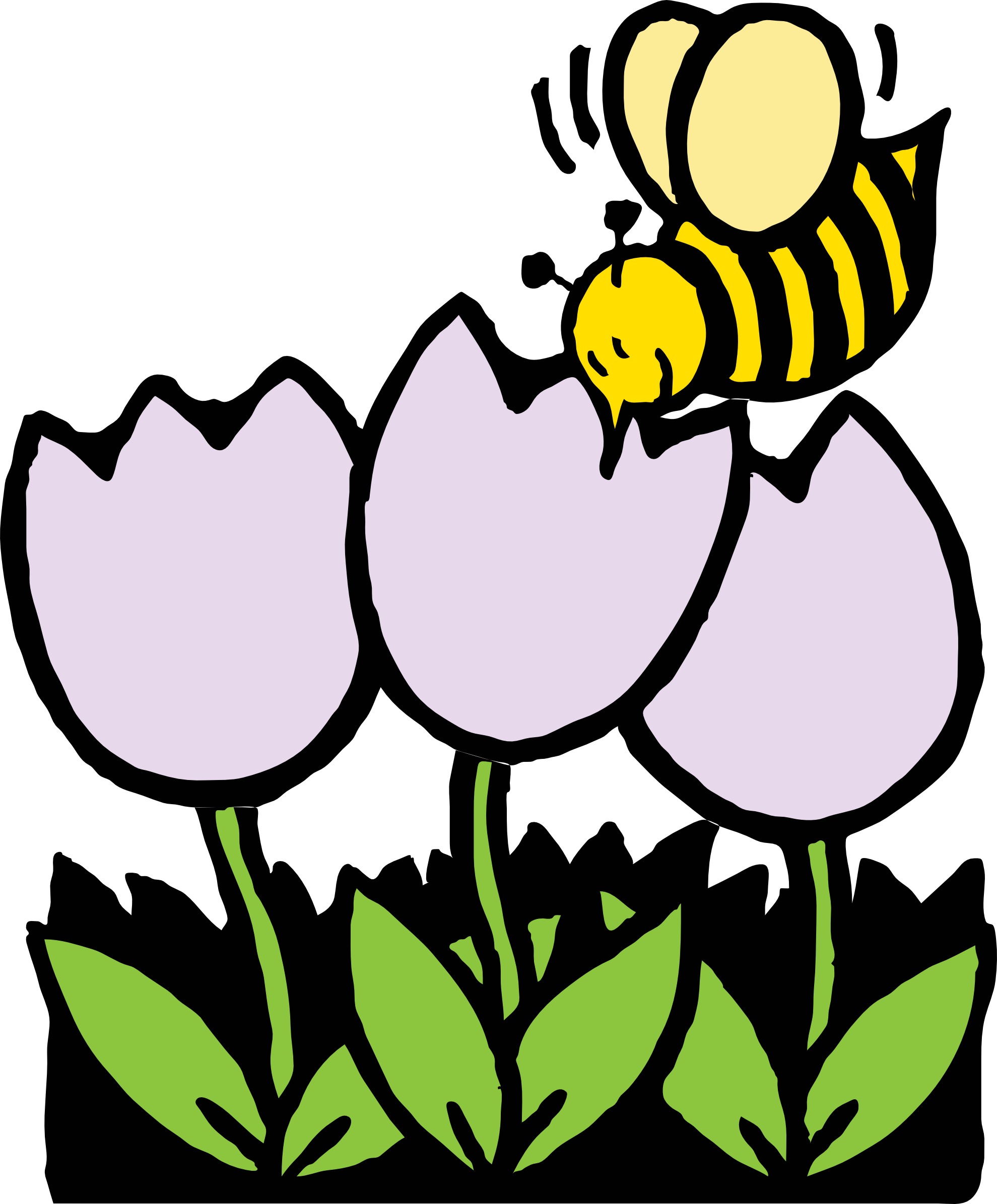 Bumble bee pollination clipart.