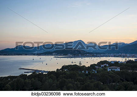"Pictures of ""Bay and mountains, sunset, Port de Pollenca, Majorca."
