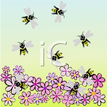 Bees Pollinating Flowers.