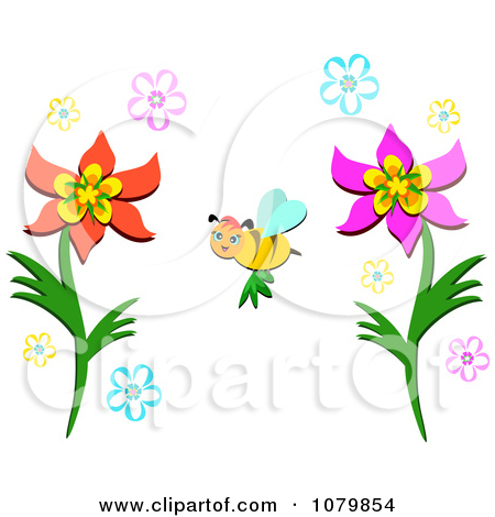 Clipart Happy Bee Pollinating Flowers.