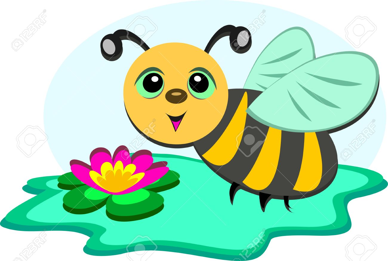 Bee At A Lily Pond Royalty Free Cliparts, Vectors, And Stock.