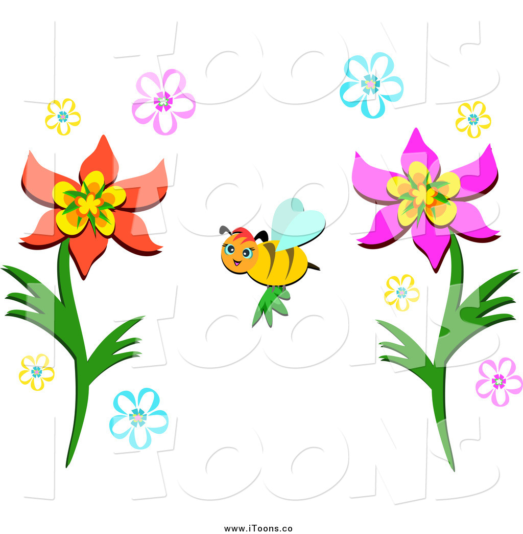 Vector Clip Art of a Bee Pollinating Flowers by bpearth.