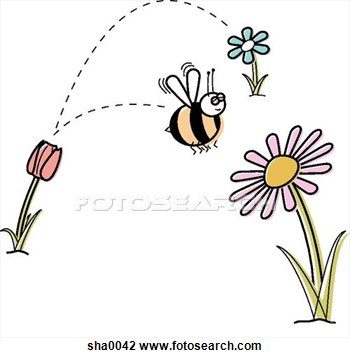Bee pollination clipart.