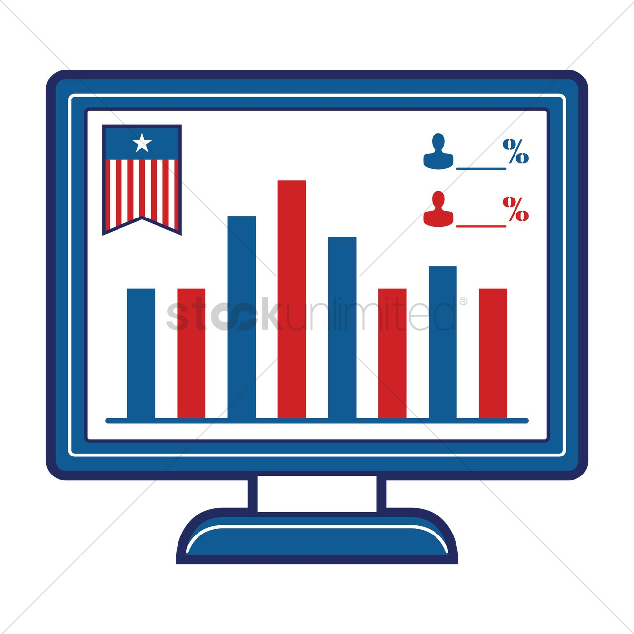 Monitor showing bar graph of election polls Vector Image.