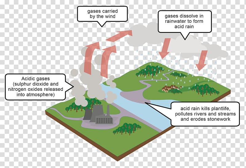 Acid rain Diagram Air pollution, rain effects transparent.