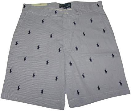 RALPH LAUREN Polo Mens All Over Pony Prospect Shorts Blue/White.