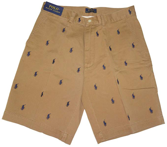 RALPH LAUREN Polo Mens All Over Pony Shorts Tan.