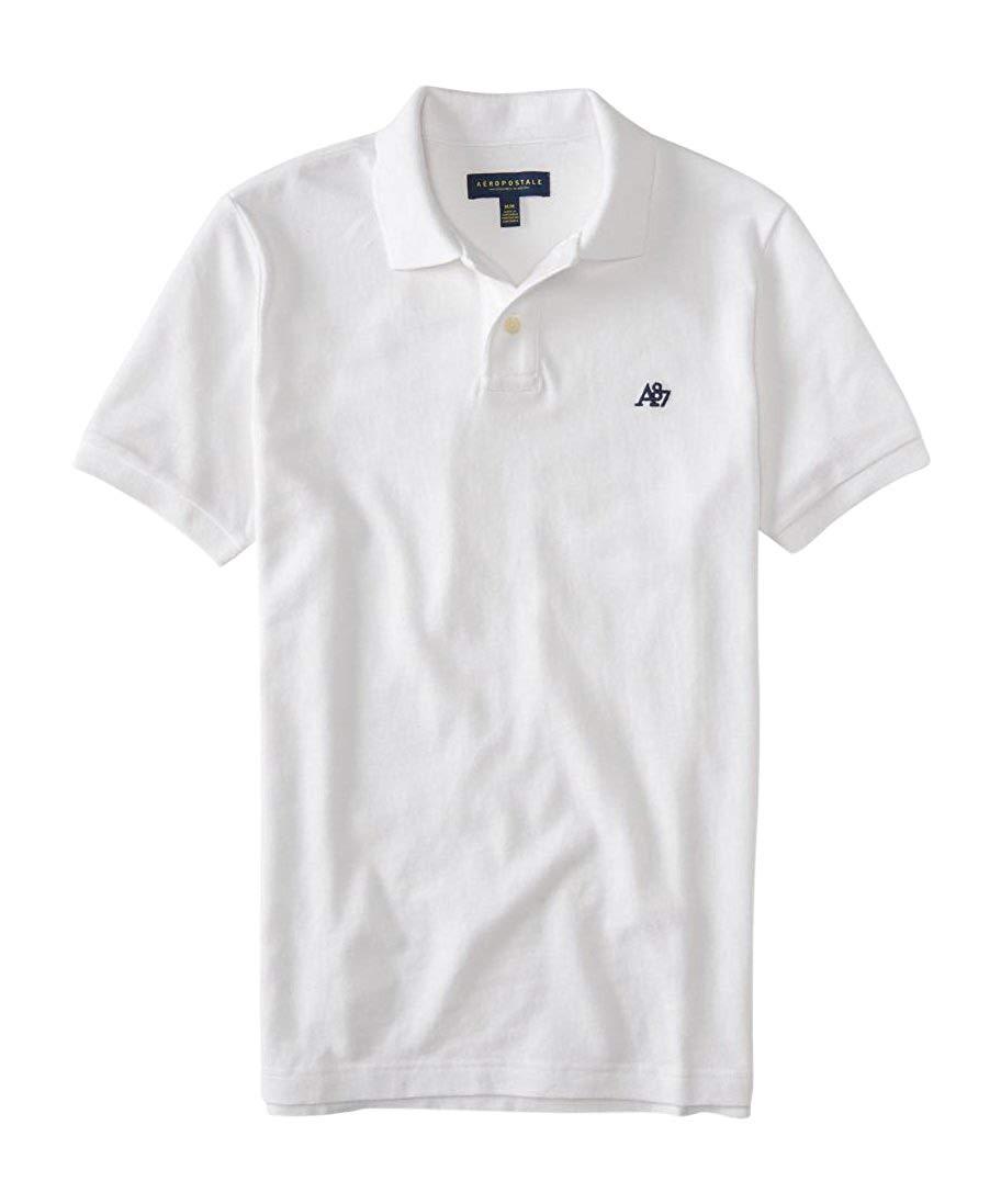 Aeropostale Men\'s A87 Solid Logo Piqu? Polo Shirt Bleach.