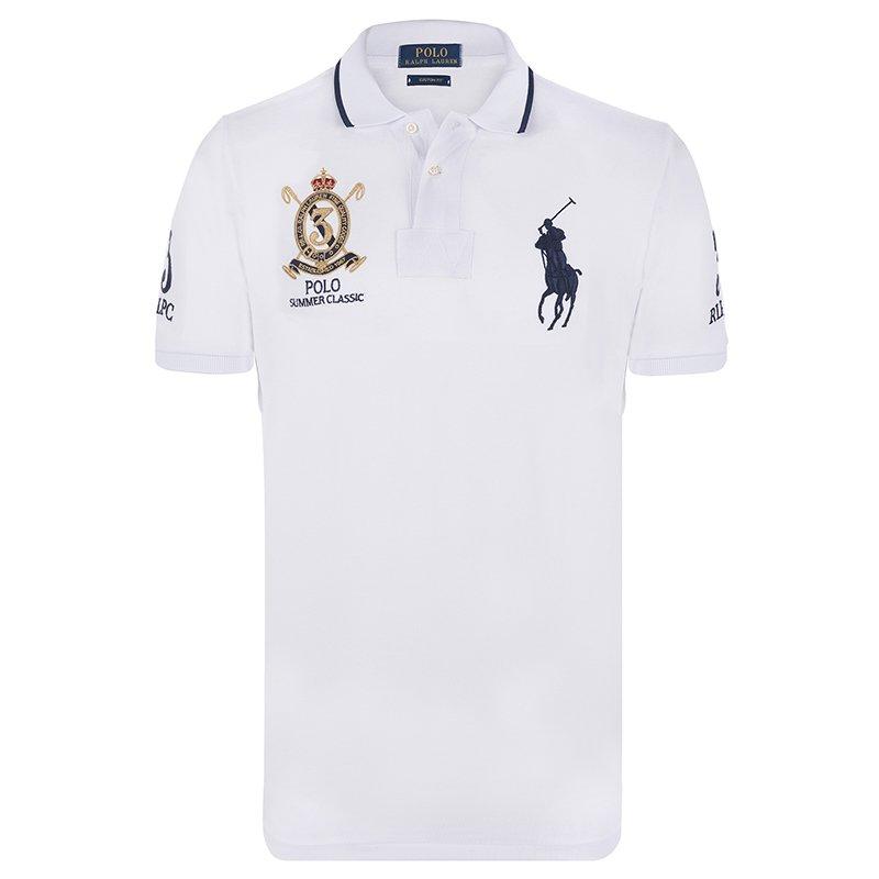 Polo Ralph Lauren White/Navy Blue Logo Polo Shirt S.