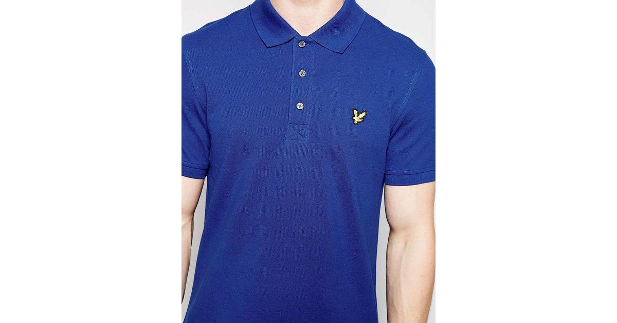 Lyle & Scott Blue Polo Shirt With Eagle Logo for men.