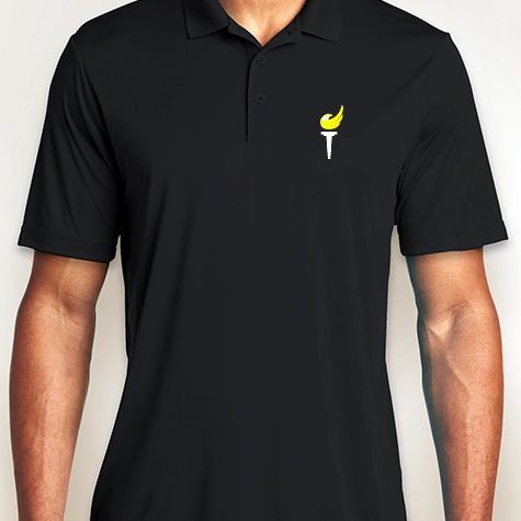 Black Performance Logo Polo Shirt.