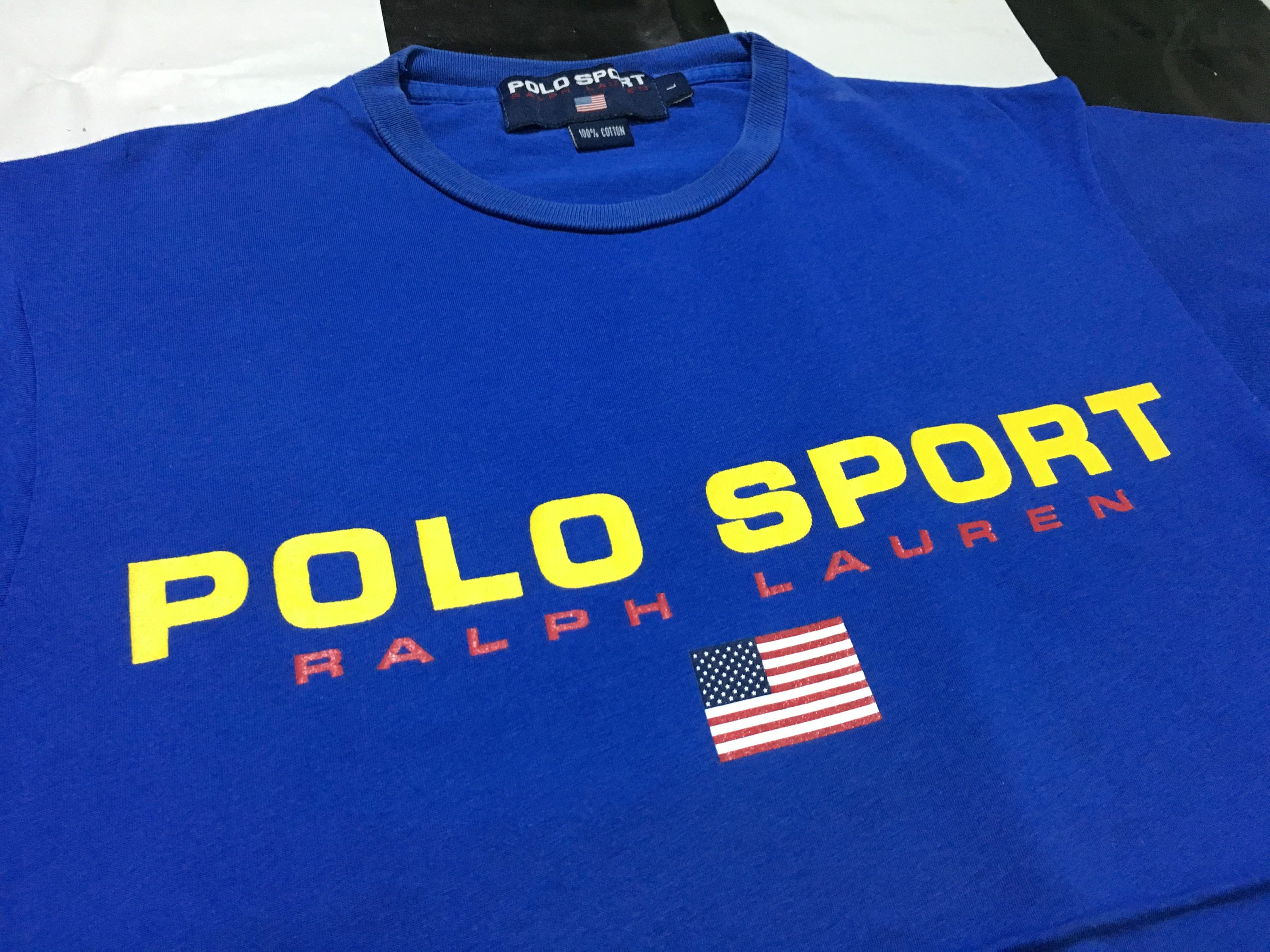 Vintage Polo sport t shirt spell out flag logo Size L Blue.