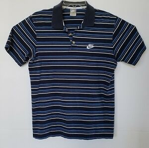 Details about Nike Shirt Short Sleeves Polo Striped Size L with Logo.