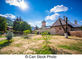 Stock Photography of Old orthodox monastery from Polovragi.