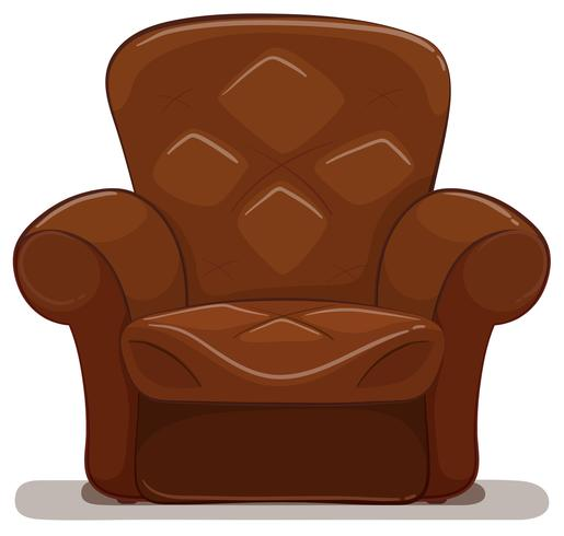 Brown armchair on white background.