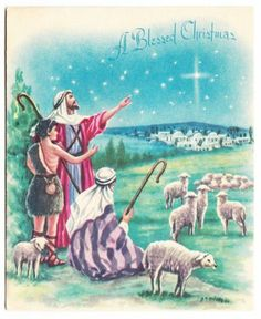 Shepherds in the field christmas clipart.