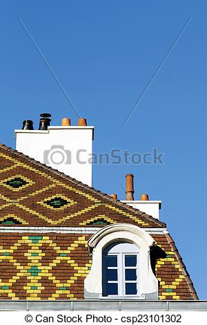 Stock Photography of Polychrome roof in Dijon.