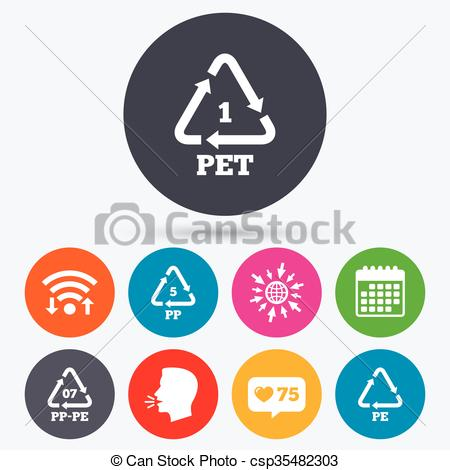 Vector Clipart of PET, PP.