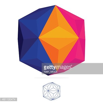 Abstract vector polygon logo. Low poly sphere. Clipart Image.