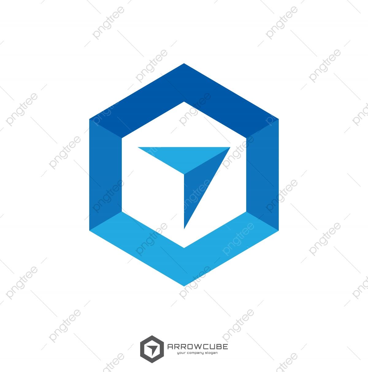 Hexagon Forward Box Arrow Abstract Polygon Logo Template.