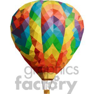Hot Air Balloon geometry geometric polygon vector graphics.