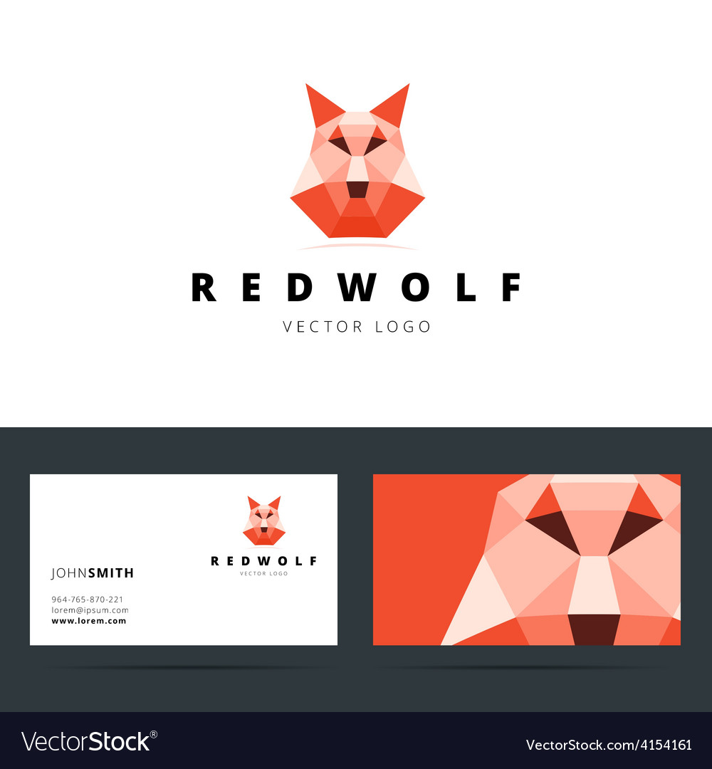 Triangle polygonal logo with wolf sign and.