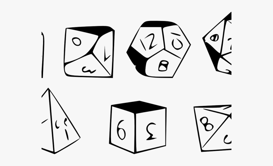 Drawn Dice Polyhedral Dice.