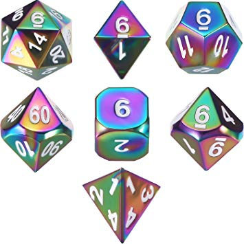 Set of 7 Metal Dice Polyhedral 7.