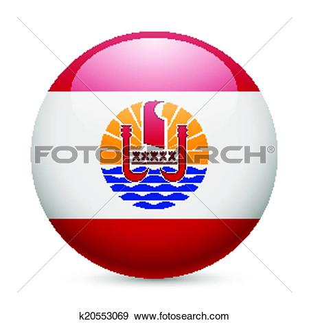 Clip Art of Round glossy icon of French Polynesia k20553069.