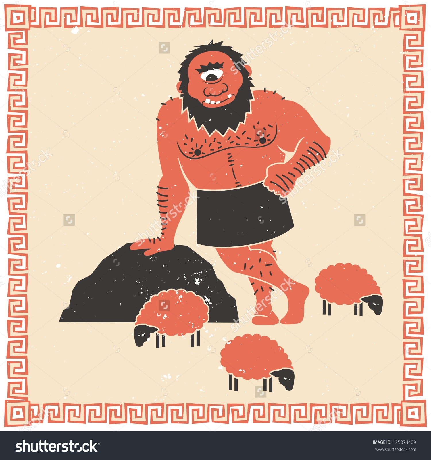 Polyphemus With Sheep Clipart.