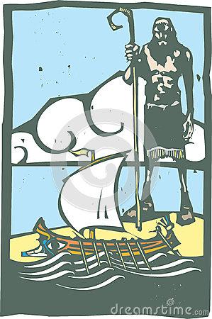 Polyphemus And Odysseus Stock Illustration.