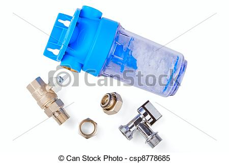 Stock Images of polyphosphate filter for water and pipe fittings.