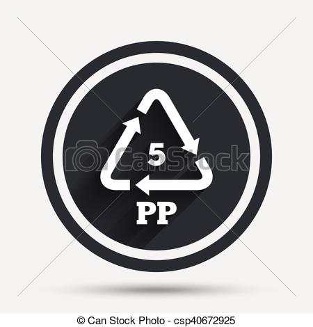 Vector Illustration of PP 5 icon. Polypropylene thermoplastic.