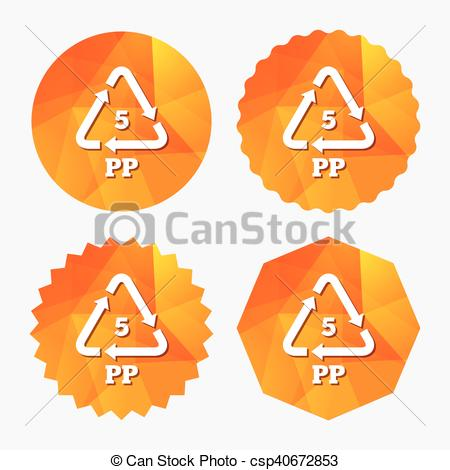 Clipart Vector of PP 5 icon. Polypropylene thermoplastic polymer.