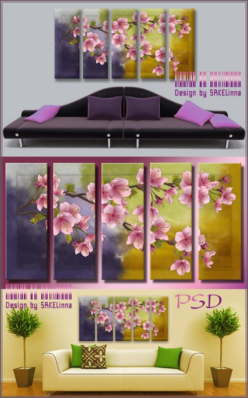 Modular painting Polyptych psd file free download.