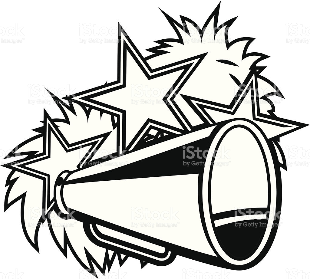 Pom Poms And Megaphone Clipart.