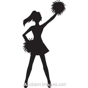 Clip Art of a Cheerleader Silhouette with Pom Poms.