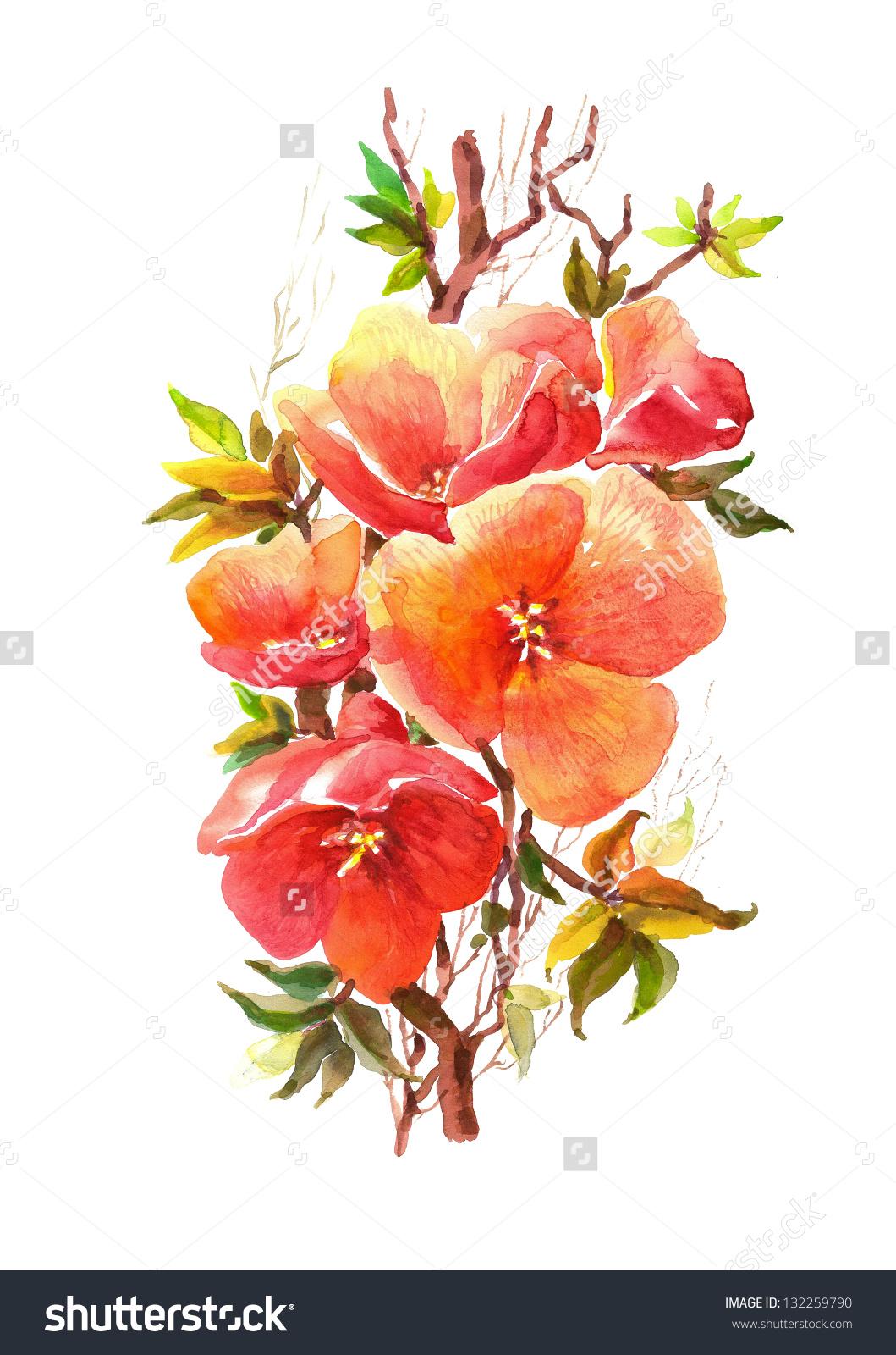 Pomegranate blossom clipart #3