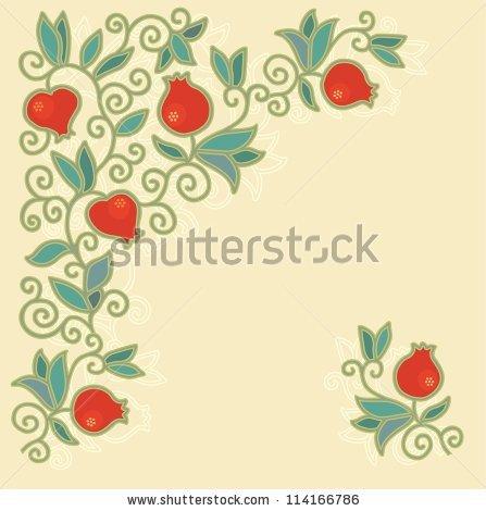 Pomegranate blossom clipart #5