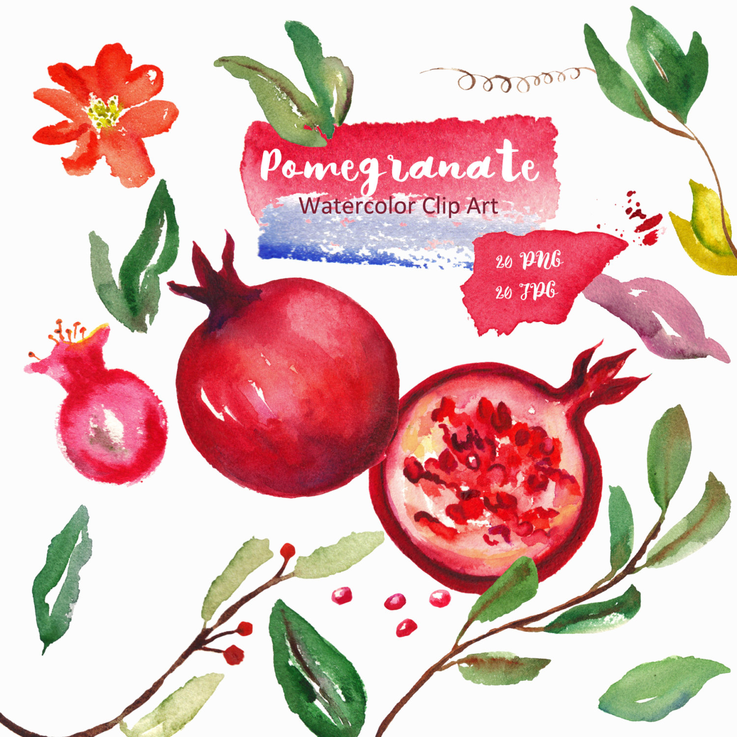 Watercolor clipart red fruits. Digital clipart by LABFcreations.
