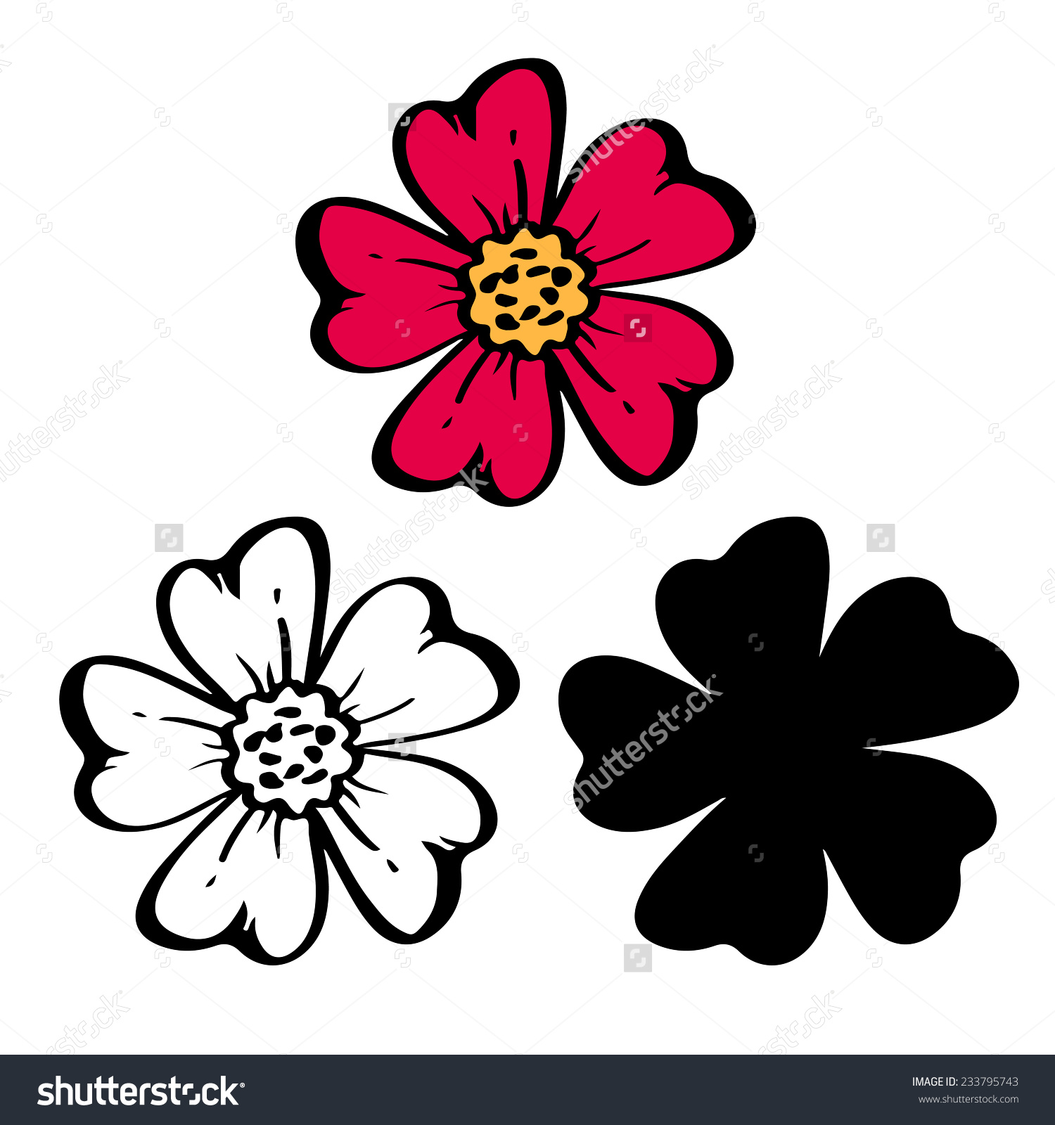 Pomegranate Flowers Color Black Silhouette Line Stock Vector.