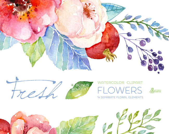 Fresh Flowers Clipart + Bouquet. Handpainted watercolor, wedding.