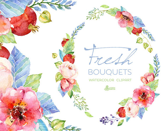 Fresh Bouquets & Wreath. Handpainted Watercolor Clipart, Wedding.