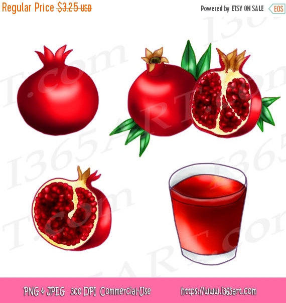 50% OFF Sale Pomegranate Fruits Clipart Pomegranate Clip art by.