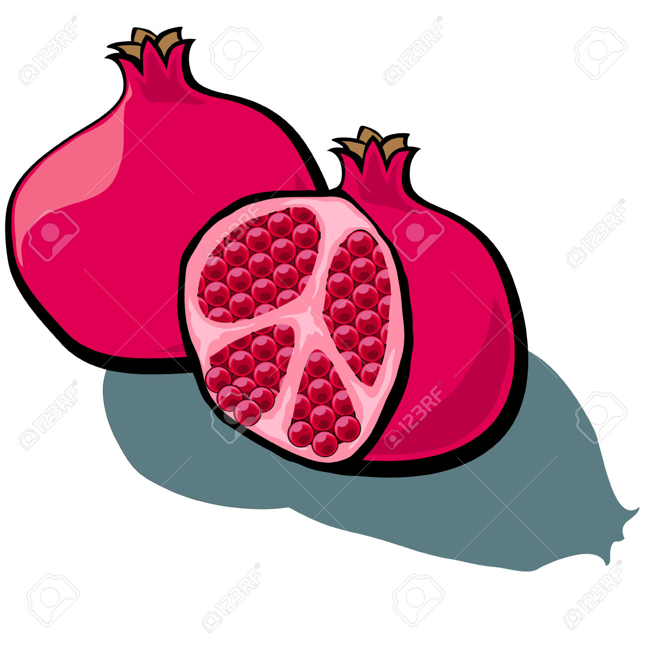 Cute Cartoon Pomegranate Cut Open Showing Seeds Royalty Free.