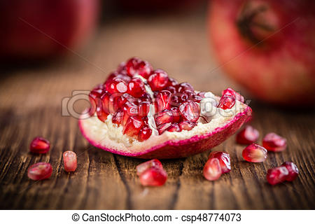 Portion of Pomegranate seeds (selective focus).