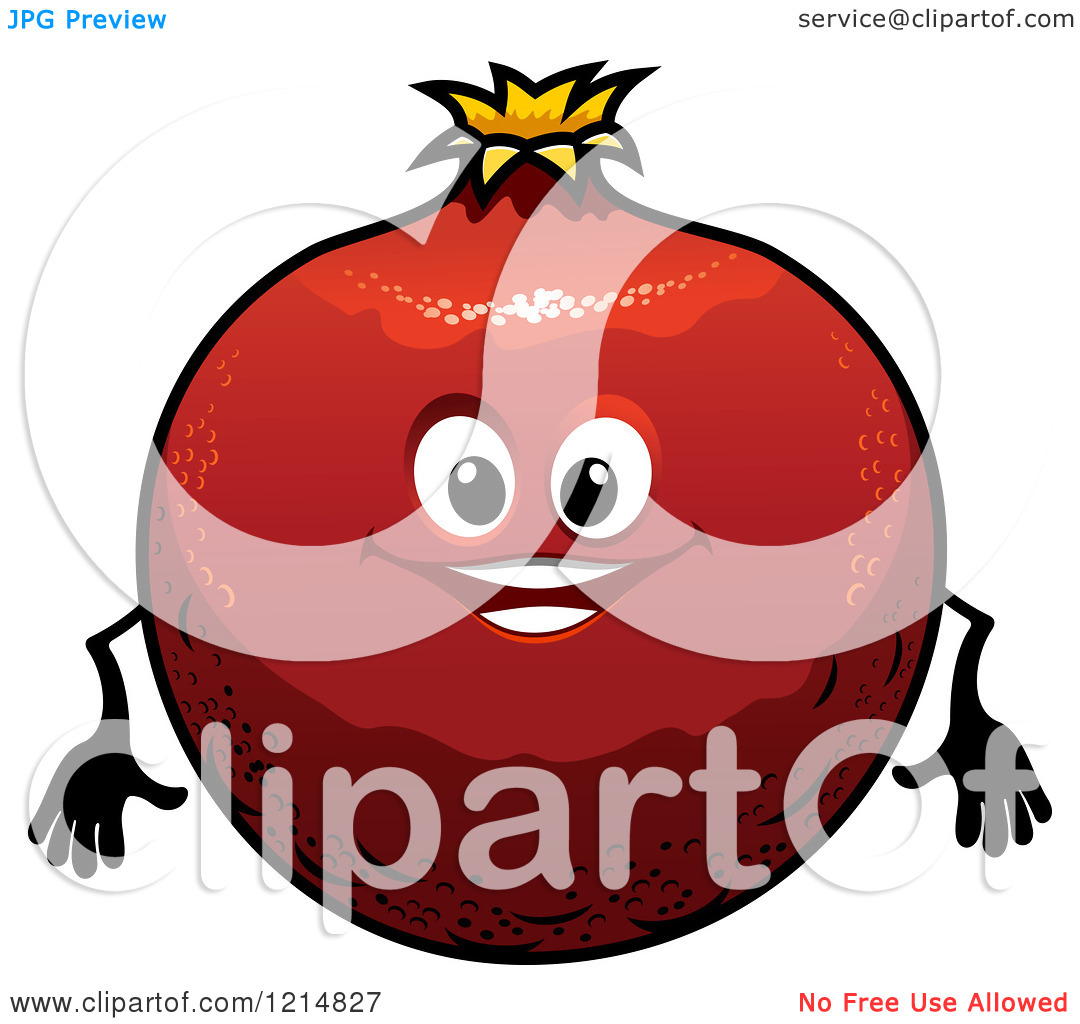 Clipart of a Happy Pomegranate Character.